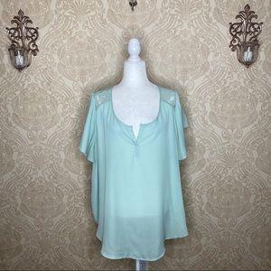 Torrid Short Sleeve Sheer Lace V-Neck Blouse